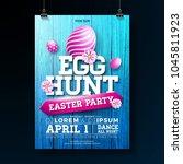 vector egg hunt easter party... | Shutterstock .eps vector #1045811923