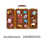 vintage old travel suitcase.... | Shutterstock .eps vector #1045825243