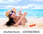 beautiful attractive woman with ... | Shutterstock . vector #1045865803