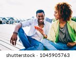 cheerful afro american guy... | Shutterstock . vector #1045905763