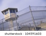 Watch tower at a CA State Prison - stock photo