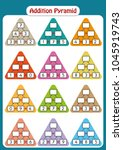 maths pyramids for mental maths ... | Shutterstock .eps vector #1045919743