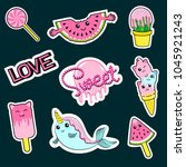 fashion patch badges with... | Shutterstock .eps vector #1045921243