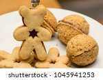 Small photo of Lineic dough in the shape of a teddy bear and filled with nuts.