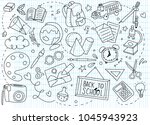 back to school poster with... | Shutterstock .eps vector #1045943923