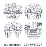 collection of road trip... | Shutterstock .eps vector #1045947127