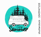 camper trailer  campervan or... | Shutterstock .eps vector #1045947133