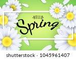 hello spring. seasonal poster.... | Shutterstock .eps vector #1045961407
