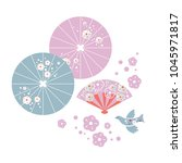 seth japanese umbrellas  fan ... | Shutterstock .eps vector #1045971817
