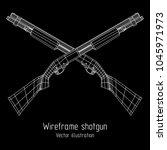 shotgun rifle hunting carbine... | Shutterstock .eps vector #1045971973