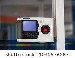 door access control keypad at a ... | Shutterstock . vector #1045976287