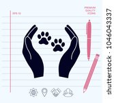 shelter pets sign icon. hands... | Shutterstock .eps vector #1046043337