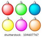 set of christmas balls on white ... | Shutterstock .eps vector #104607767