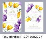 vector floral banner with blue... | Shutterstock .eps vector #1046082727