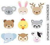 Stock vector vector illustration of animal face set 104608283