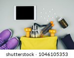 fitness abstract healthy... | Shutterstock . vector #1046105353