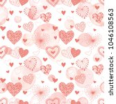 cute vector hearts seamless... | Shutterstock .eps vector #1046108563