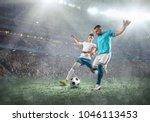 soccer players on a football... | Shutterstock . vector #1046113453