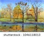 Watercolor Illustration Lake I...