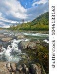 river rapids in the polar urals....   Shutterstock . vector #1046133163