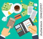 payment of bills flat vector...   Shutterstock .eps vector #1046152957