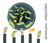 cash flow. banknotes fly away... | Shutterstock .eps vector #1046152963