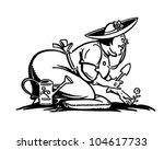 happy gardener   retro clipart... | Shutterstock .eps vector #104617733