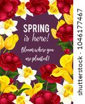 spring is here quote and... | Shutterstock .eps vector #1046177467