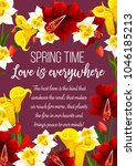 springtime flowers and wish... | Shutterstock .eps vector #1046185213