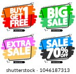 set sale tags  discount banners ... | Shutterstock .eps vector #1046187313