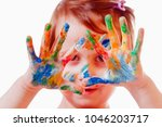 colorful painted hands in a... | Shutterstock . vector #1046203717