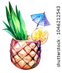 tropical cocktail in pineapple. ... | Shutterstock . vector #1046212543