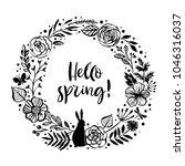 hello spring  flower wreath... | Shutterstock .eps vector #1046316037