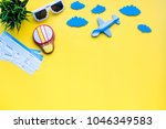 sample of airplane ticket.... | Shutterstock . vector #1046349583