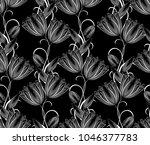damask seamless black and white ... | Shutterstock .eps vector #1046377783