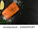 crepes with raw sliced salmon... | Shutterstock . vector #1046394187