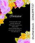 flower frame on black... | Shutterstock .eps vector #1046399737