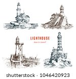 lighthouse and sea. marine... | Shutterstock .eps vector #1046420923