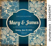 wedding card or invitation with ... | Shutterstock .eps vector #104643947