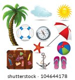 Summer and travel icon set - stock vector