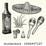 tequila bottle  salt shaker and ... | Shutterstock .eps vector #1046447137