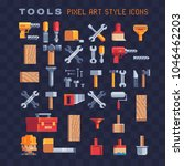 builders pixel art icons set.... | Shutterstock .eps vector #1046462203