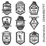 vintage mafia emblems set with... | Shutterstock .eps vector #1046486797