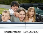 a family of four sits in a... | Shutterstock . vector #104650127