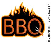 bbq grill.  ooking meat on fire.... | Shutterstock .eps vector #1046512657