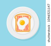 plate with toasted bread  bacon ...   Shutterstock .eps vector #1046521147