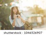 outdoor summer smiling... | Shutterstock . vector #1046526907