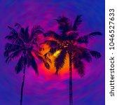 dark palms silhouettes against... | Shutterstock . vector #1046527633