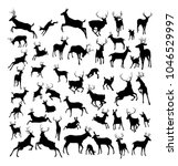 high quality deer silhouettes.... | Shutterstock .eps vector #1046529997