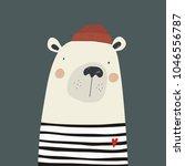 hand drawn bear sailor. love sea | Shutterstock .eps vector #1046556787